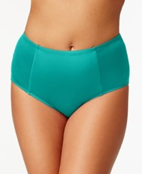 Kenneth Cole Reaction Plus Size Solid High Waist Bikini Bottom Women's Swimsuit Teal