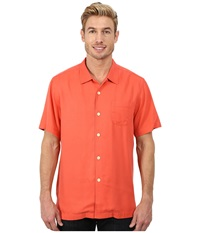 Tommy Bahama Island Modern Fit Hamilton S S Camp Shirt Starfish Red Men's Short Sleeve Button Up Orange