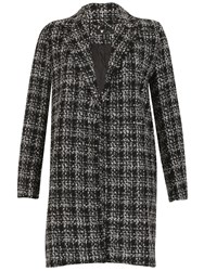 Cutie Checkered Oversized Coat Black