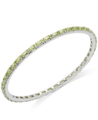Macy's Peridot Bangle Bracelet In Sterling Silver 9 Ct. T.W. Green