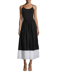 Neiman Marcus Contrast Hem Strapless Maxi Dress Black White