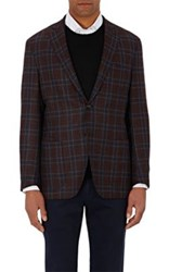 Luciano Barbera Men's Plaid Two Button Sportcoat Red