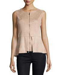 Neiman Marcus Faux Suede Zip Front Peplum Tank Taupe Brown