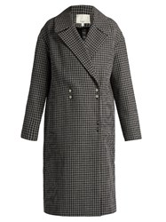 Tibi Hound's Tooth Wool Blend Coat Black Multi