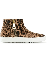 Alberto Moretti Pony Fur Zip Up Trainers Nude And Neutrals