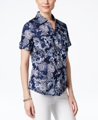 Karen Scott Petite Floral Print Short Sleeve Shirt Only At Macy's Intrepid Blue