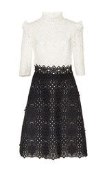 Costarellos Black And White Embroidered Cut Lace Dress