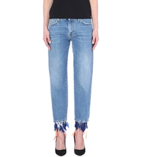 Msgm Pantalone Feather Trim Straight High Rise Jeans Blue