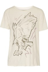 Current Elliott The Rolled Printed Slub Linen And Cotton Blend T Shirt White