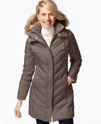 Kenneth Cole Faux Fur Trim Chevron Quilted Down Coat Canyon
