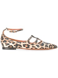 Givenchy Leopard Print Ballerina Shoes Brown