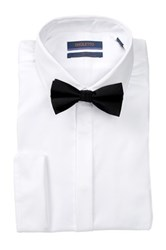 Broletto Long Sleeve Trim Fit Tux Shirt And Bow Tie White