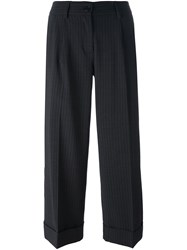 P.A.R.O.S.H. Pinstripe Cropped Tailored Trousers Black