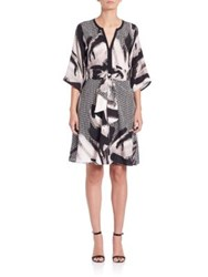 Josie Natori Printed Tie Waist Dress