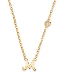 M Initial Pendant Necklace With Diamond Shy By Sydney Evan Gold