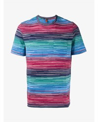 Missoni Stripe Print Cotton T Shirt Blue Red Multi Coloured White Green Beige De