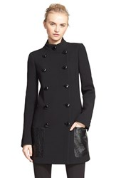 Women's Michael Kors Double Breasted Leather Trim Duvetine Wool Crepe Jacket