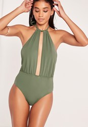 Missguided Grecian Halter Neck Swimsuit Khaki Beige