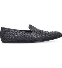 Bottega Veneta Woven Leather Slippers Black