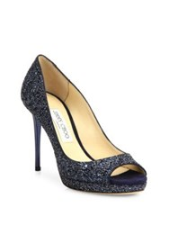 Jimmy Choo Luna Glitter Peep Toe Pumps Navy