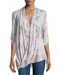 Young Fabulous And Broke Young Fabulous And Broke Three Quarter Sleeve Wrap Front Blouse Pink