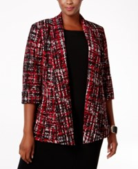 Kasper Plus Size Printed Open Front Jacket Fire Red Multi