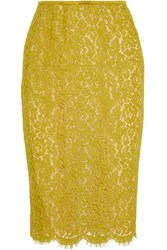 Michael Kors Cotton Blend Lace Skirt Yellow