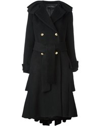 Christian Pellizzari Belted Raw Hem Coat Black