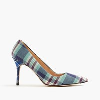 J.Crew Elsie Pumps In Mixed Plaid Seafoam Multi