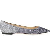 Jimmy Choo Romy Glitter Pointed Toe Flats Navy Silver