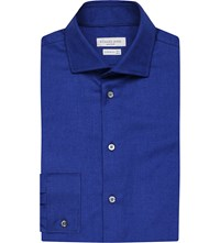 Richard James Contemporary Fit Cotton Twill Shirt Royal
