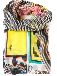 Lala Berlin Abstract Print Scarf Yellow And Orange