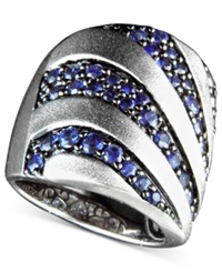Effy Collection Balissima By Effy Sapphire Stripe Band Ring 2 1 3 Ct. T.W. In Sterling Silver