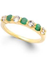 Victoria Townsend Emerald 1 3 Ct. T.W. And White Topaz 3 8 Ct. T.W. Ring In 18K Gold Over Sterling Silver Yellow Gold