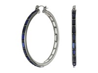Guess Stone Hoop Earrings Hematite Mint Crystal Earring Navy