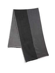 Giorgio Armani Colorblock Wool Scarf Dark Grey