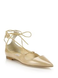 Jimmy Choo Vita Patent Leather Lace Up Flats Beige