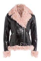 Sandy Liang Leather And Shearling Biker Jacket Black