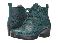 Alegria Eliza Teal Tooled Women's Boots Green
