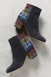 Anthropologie Miss Albright Colorblocked Houndstooth Booties Navy