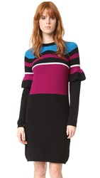 Kenzo Rib And Frills Wool Dress Black