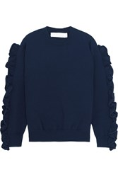 Victoria Beckham Ruffle Trimmed Ribbed Knit Sweater Navy