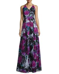 Phoebe Couture V Neck Crisscross Back Floral Gown Multi