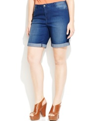Junarose Plus Size Cuffed Slim Denim Shorts