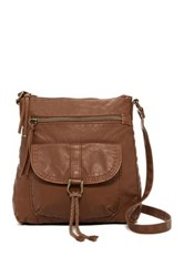 T Shirt And Jeans Pocketed Faux Leather Small Crossbody Brown