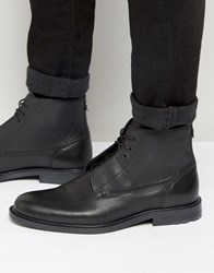 Hugo Boss Orange Cultroot Leather Lace Up Boots Black
