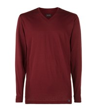 Hanro Long Sleeve V Neck Cotton Lounge Top Male Red