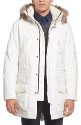French Connection 'Richmond' Water Resistant Hooded Parka With Faux Fur Trim Cuba White