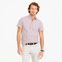 J.Crew Secret Wash Short Sleeve Shirt In Red Tattersall