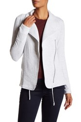 Heather By Bordeaux Fleece Long Sleeve Drawstring Jacket White
